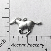 40044 - 12 Pc Running Horse Charm Jewelry Finding Silver Ox