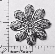 25824 - 1 Pc Round Floral Filigree Jewelry Finding Silver Ox