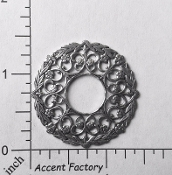 25044 - 1 Pc Victorian Round Filigree Jewelry Finding Silver Ox
